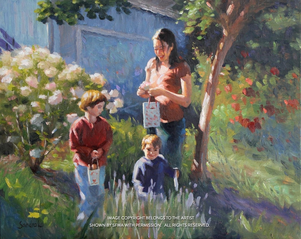 LoSa_MotherAndSonsInMorningLight_Oil_26x22