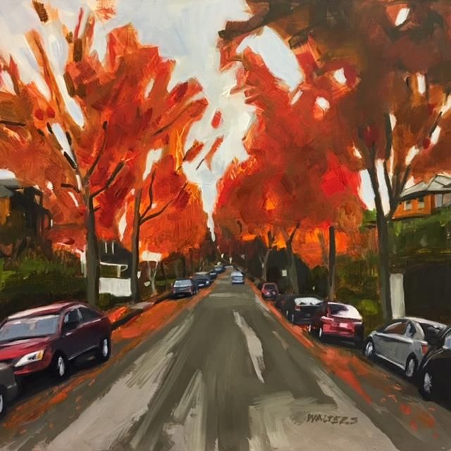 WaltersMa-Neighborhood-in-Fall_oil12x12