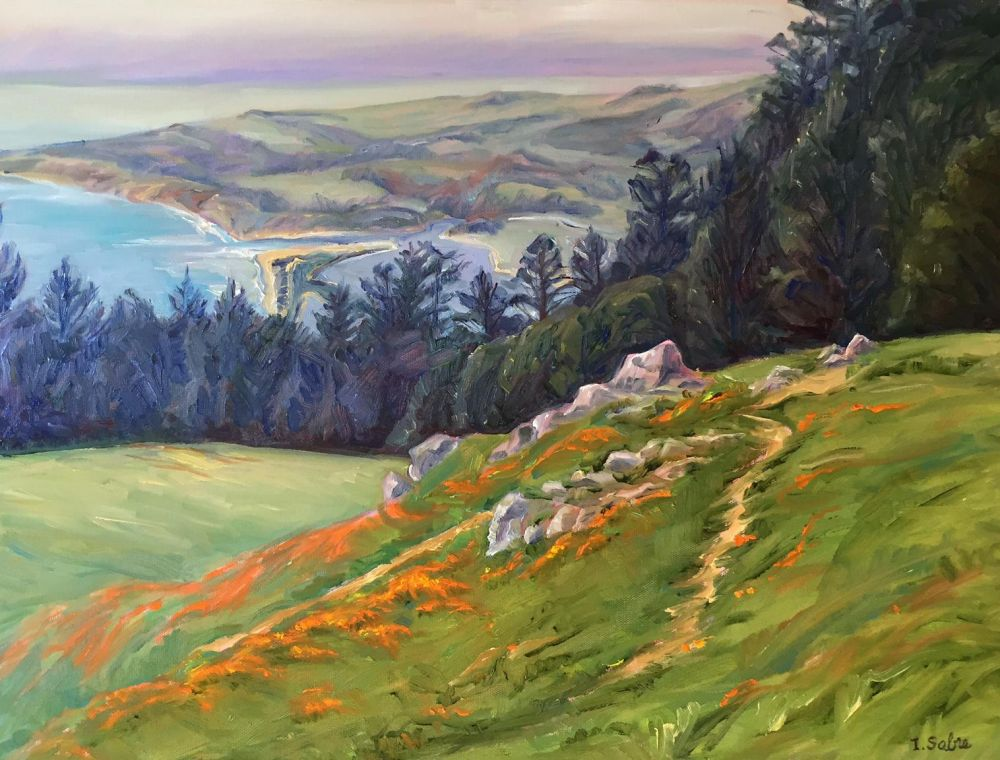 SabreIris_Mount-Tamalpais-Poppies_Oil_24.5x30.5