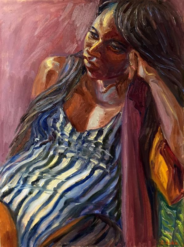 SabreIr_TheStripedSwimsuit_Oil_30.5x24.5