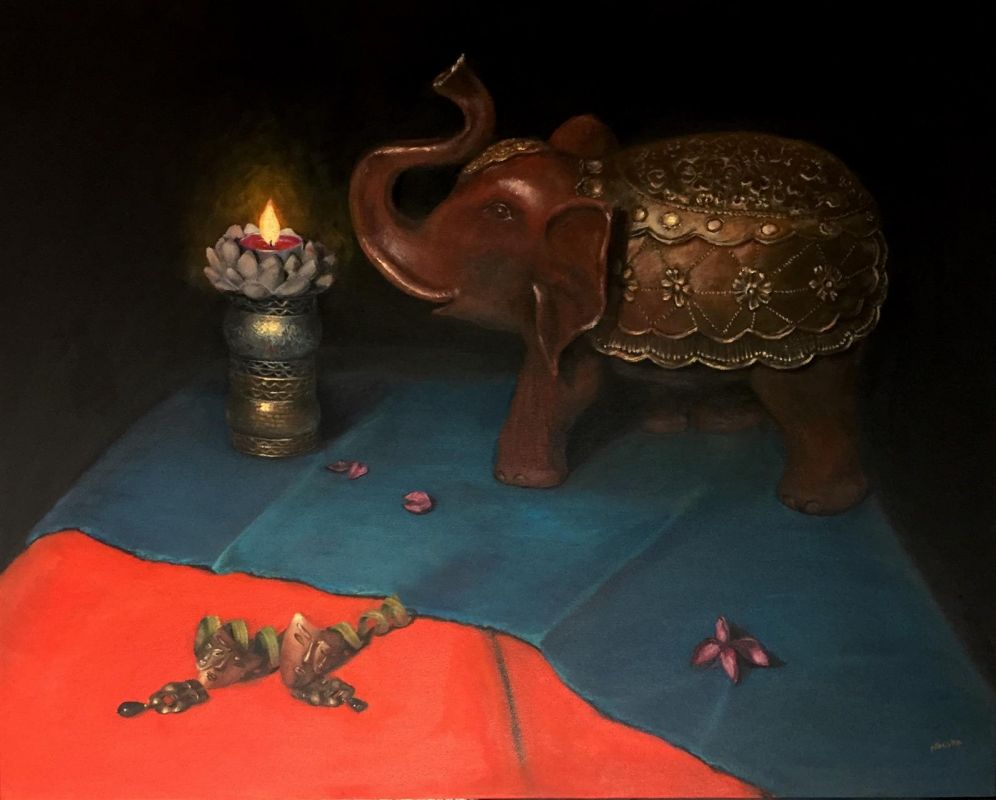 DoongarwalNi_Golden-Elephant_Oil_36x24