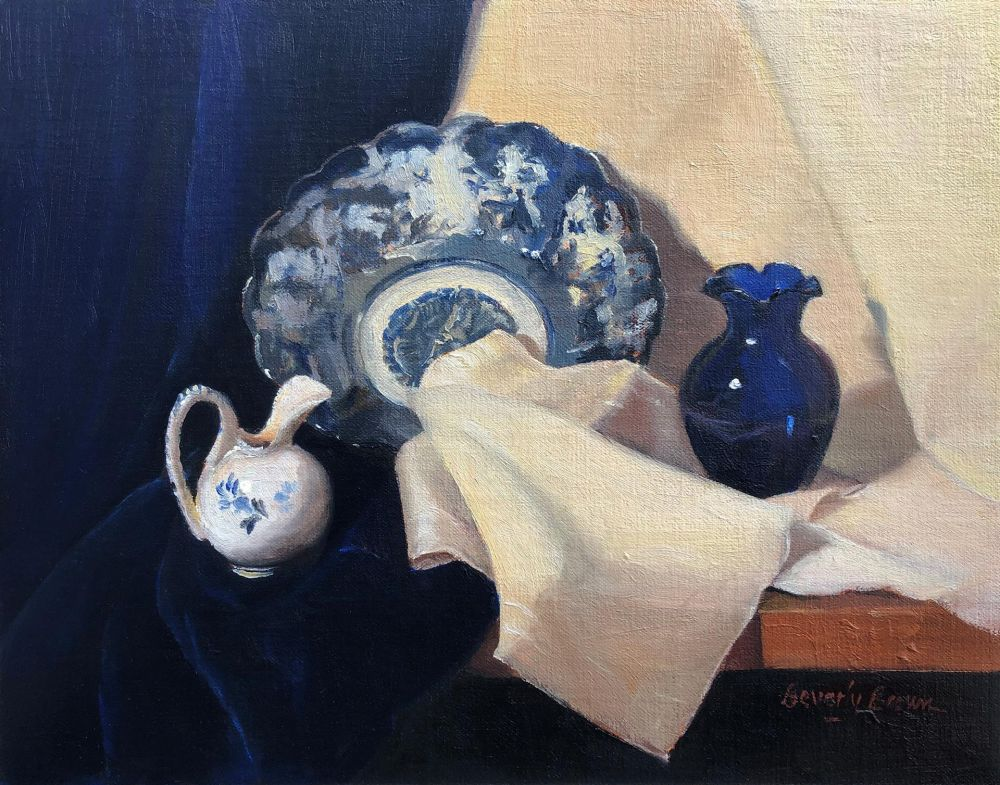 BrownBe-Blue-Chinese-Bowl-and-Vase_Oil_15x18