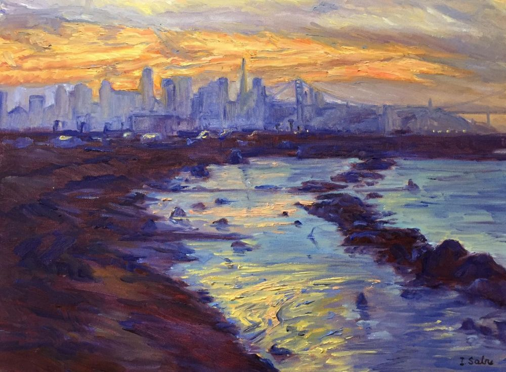 SabreIr-Skyline-at-Sunset_Oil_25.5x30