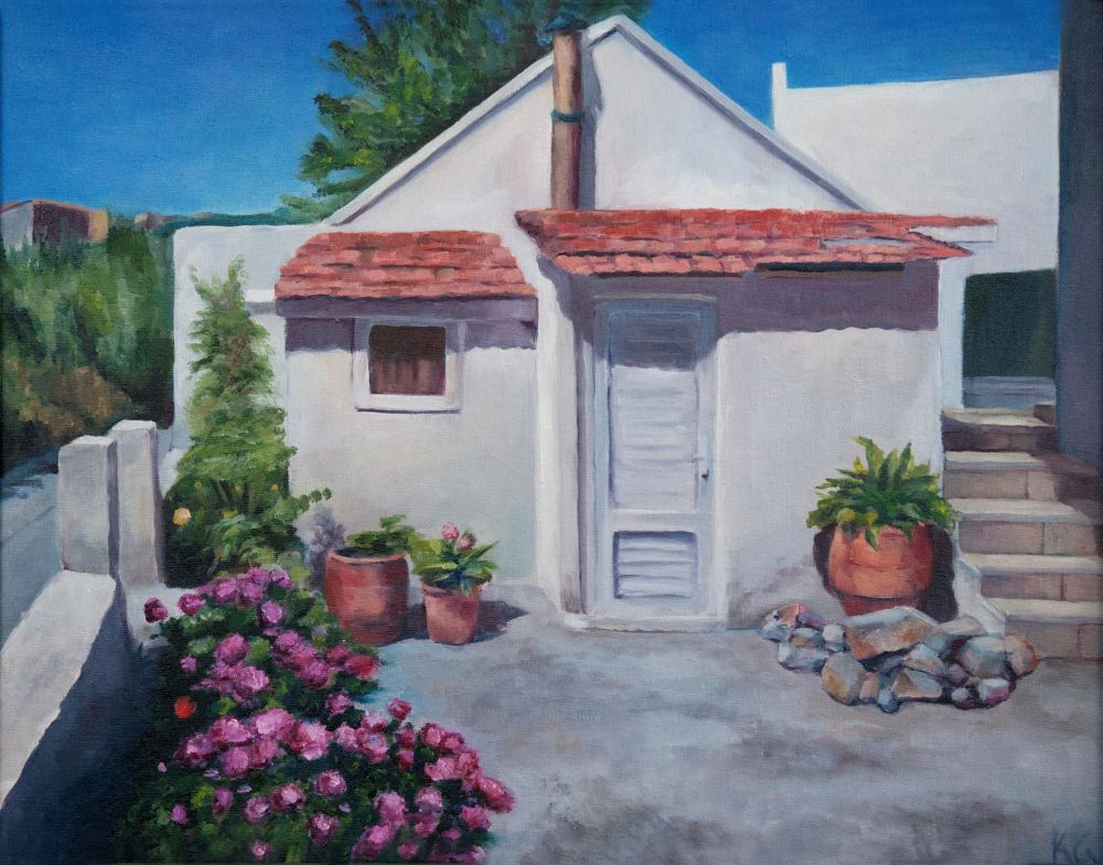 GrossKa-Little-White-House-on-Skopelos_Oil_16x20