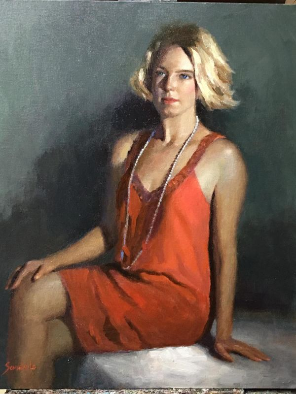 LoSa-Hannah-In-Red-Dress_oil-26x22