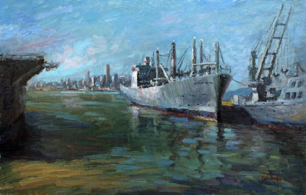LoSa-Military-Ship-in-Alameda_oil-18x24