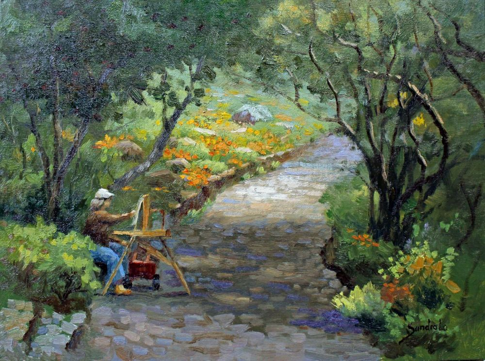 LoSa-Painting-in-the-Garden_Oil_16x20