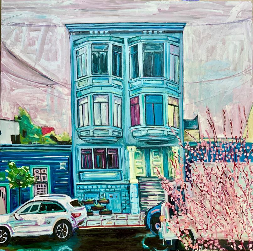 ClareAm-Asleep-in-perfect-blue-buildings_Oil_48x48