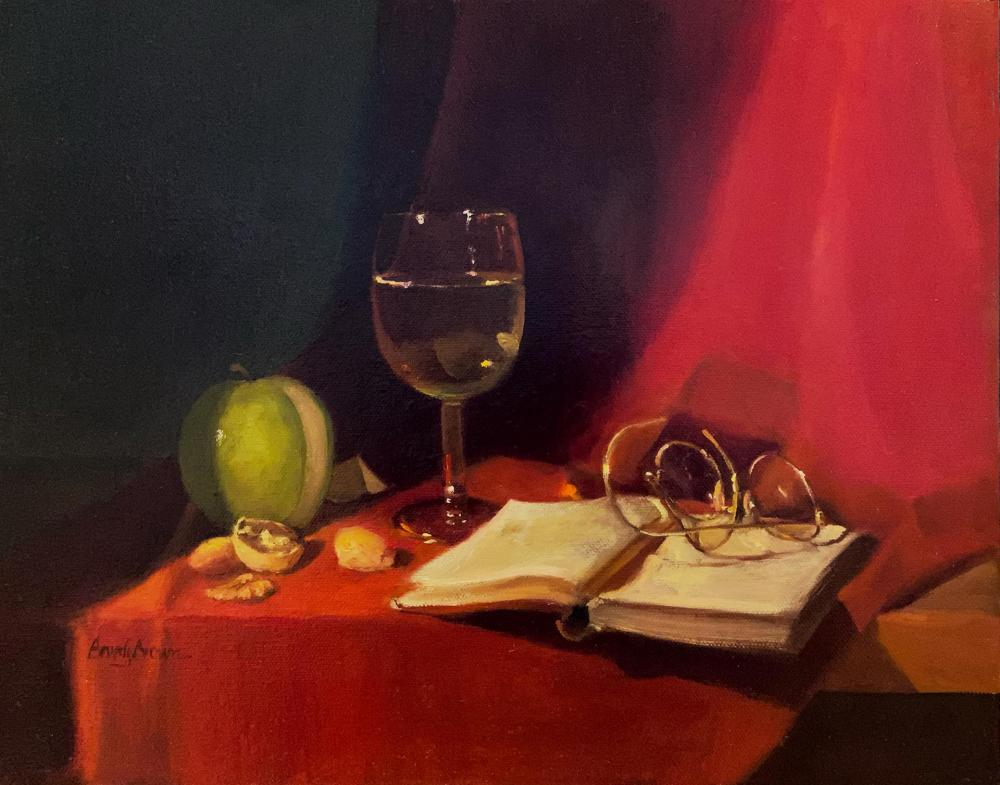 BrownBe-White-Wine-on-Red_Oil_16x19