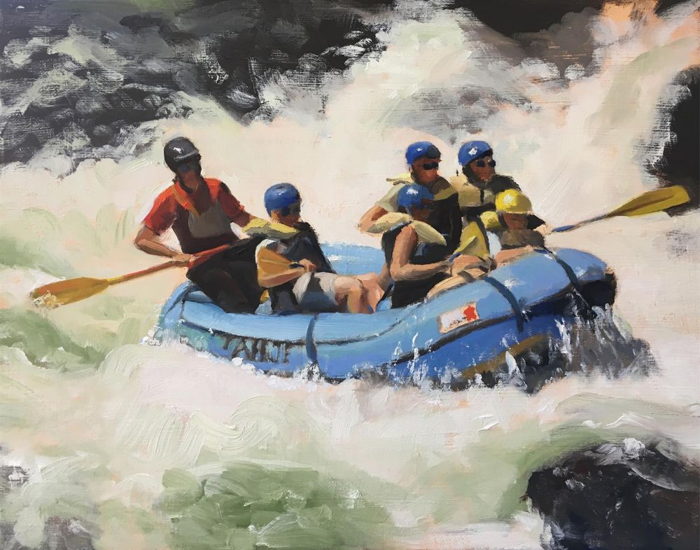 BrownBe_Rafting-the-Truckee_Oil_15x18