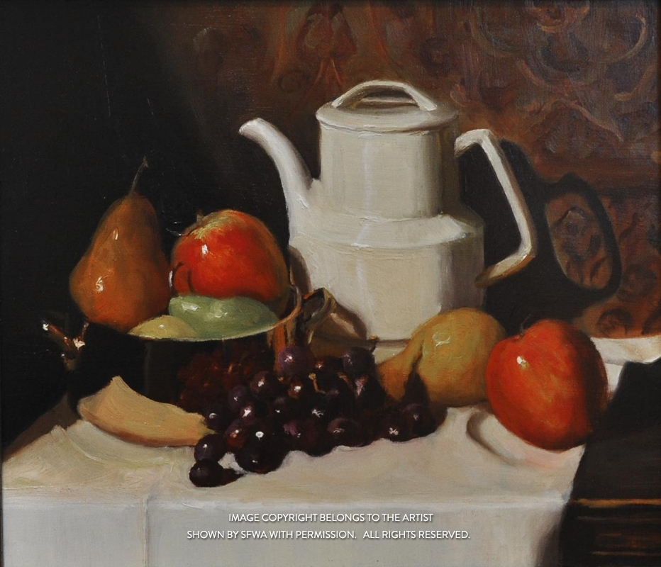 BrownBe_CopperPotTeapotandFruit_Oil_18.5x16.5