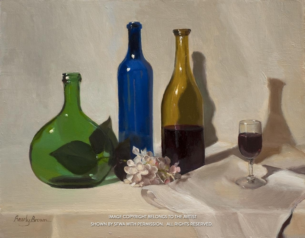 BrownBe_ThreeBottlesandWine_Oil_22.5x19.5