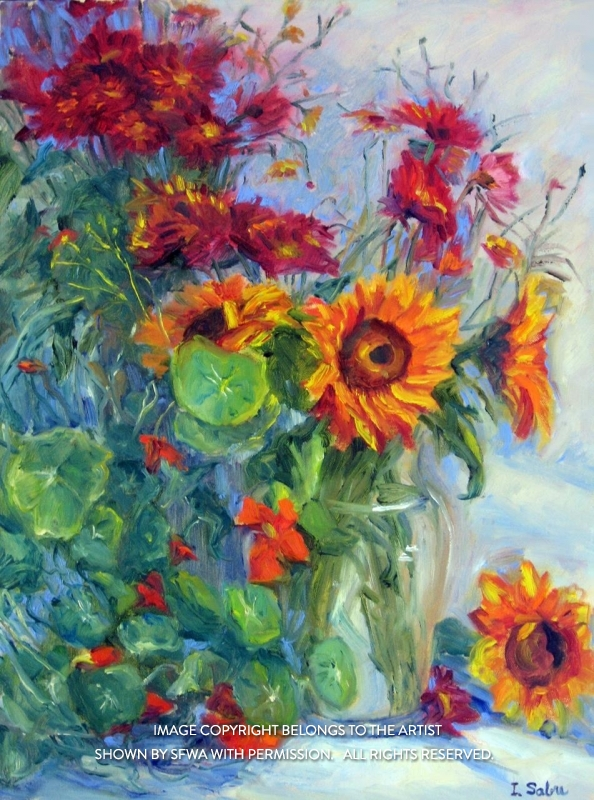 SabreIr_SunflowersAndNasturtiums_Oil_22.5x28.5