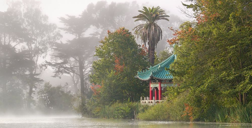 Chinese Pavilion and Trees